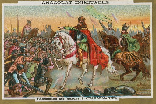 Submission of the Saxons to Charlemagne. Educational card, late 19th or early 20th century.