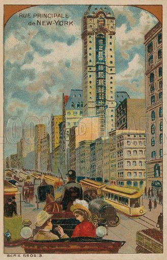 Principal street of New York City. Educational card, late 19th or early 20th century.