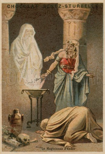 The Witch of Endor. Educational card, late 19th or early 20th century.