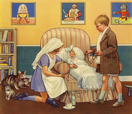 Boy and Girl playing Doctors and Nurses with sick doll