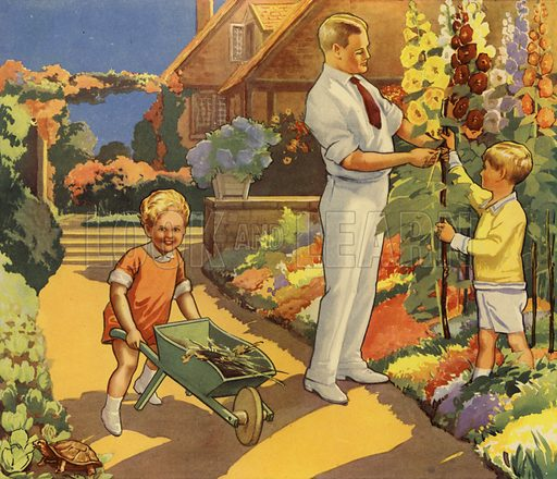 Children helping father in garden