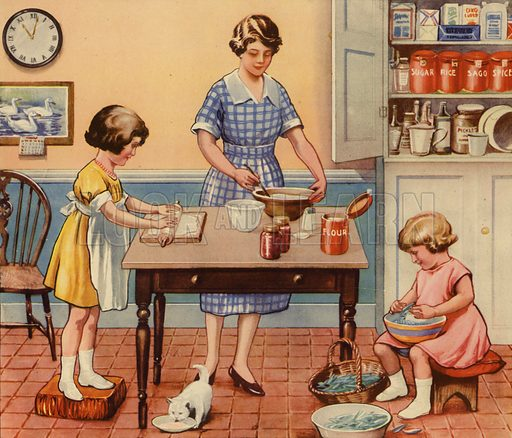 Children helping mother cook