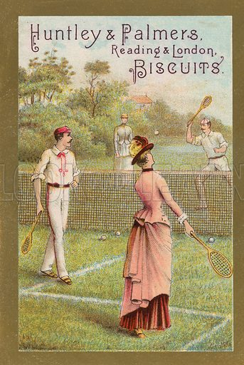 A game of tennis. Educational card, late 19th or early 20th century.