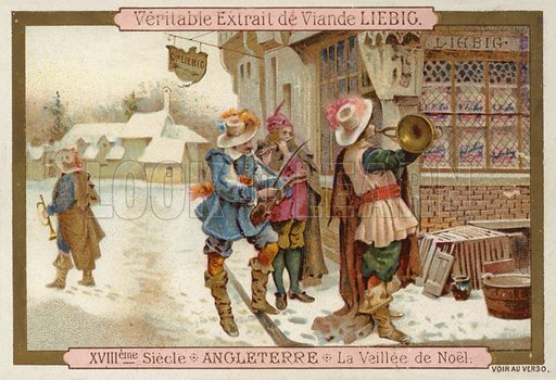 Christmas Eve in England, 18th Century. Educational card, late 19th or early 20th century.
