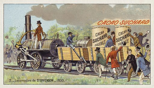 George Stephenson's locomotive Rocket, 1830. Educational card, late 19th or early 20th century.