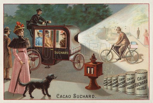Motorised carriage with a powerful headlight. Educational card, late 19th or early 20th century.