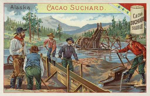 Gold prospectors, Alaska. Educational card, late 19th or early 20th century.