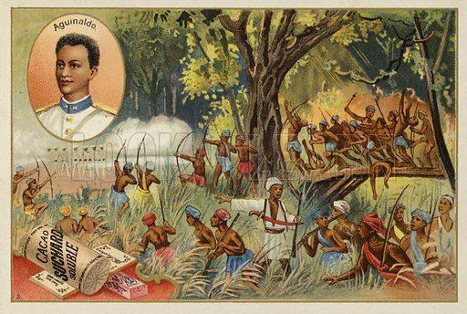 Emilio Aguinaldo (1869-1964), Filipino revolutionary leader and politician. Educational card, late 19th or early 20th century.