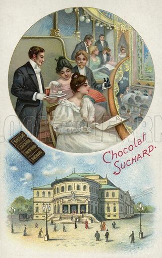 Enjoying Suchard chocolate at the opera or theatre. Educational card, late 19th or early 20th century.