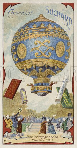First manned free (untethered) balloon flight, Annonay, France, November 1783. Educational card, late 19th or early 20th century.