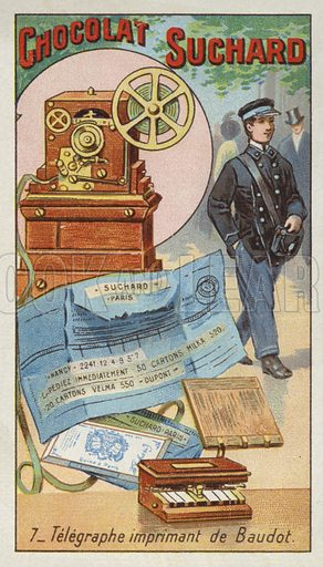 Baudot's printing telegraph. Educational card, late 19th or early 20th century.