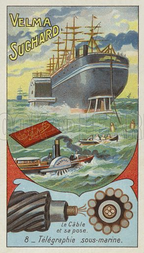 Submarine telegraphy. Educational card, late 19th or early 20th century.