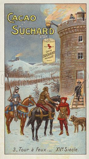Signalling towers, 15th Century. Educational card, late 19th or early 20th century.
