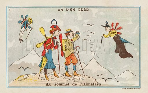 At the summit of the Himalayas in the year 2000. Educational card, late 19th or early 20th century.