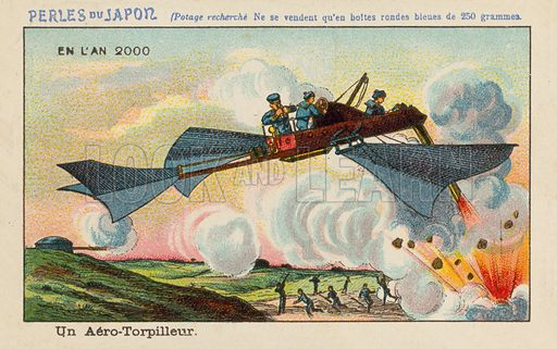 Flying torpedo boat in the year 2000. Educational card, late 19th or early 20th century.