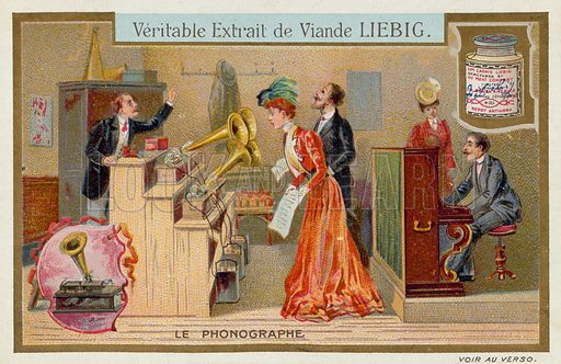 The phonograph. Educational card, late 19th or early 20th century.