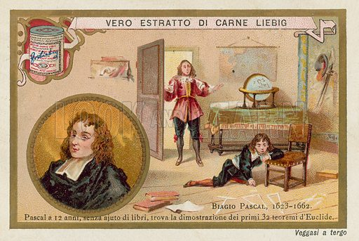 Blaise Pascal (1623-1662), French mathematician and physicist. Pascal, aged 12, finding the proof of the first 32 theorems of Euclid without the aid of books. Educational card, late 19th or early 20th century.