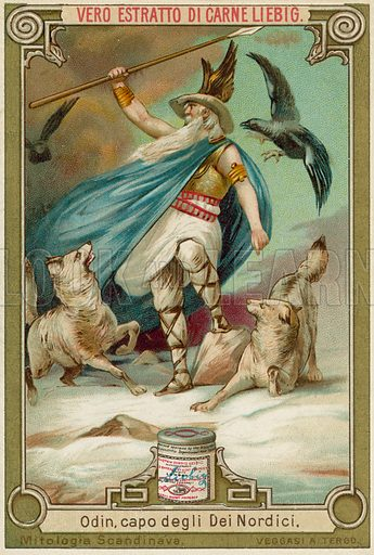 Odin, chief of the Norse gods. Educational card, late 19th or early 20th century, from a series on Norse mythology.