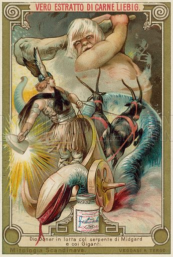 The god Thor battling the Midgard serpent and the giants. Educational card, late 19th or early 20th century, from a series on Norse mythology.