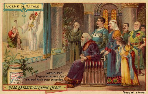 Performance of a Nativity play in a castle in the Middle Ages. Educational card, late 19th or early 20th century.