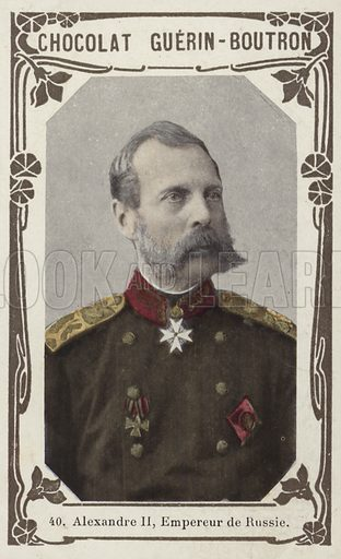Alexandre II, Empereur de Russie. French educational card, late 19th/early 20th century.
