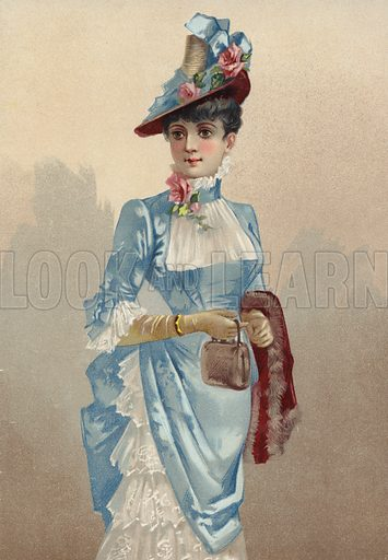 Elegant young lady in blue dress, carrying small handbag.