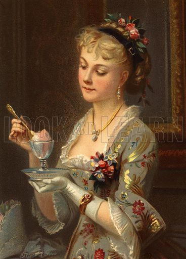 Girl eating sorbet with a gold spoon.   Large chromolithograph of exceptional quality.