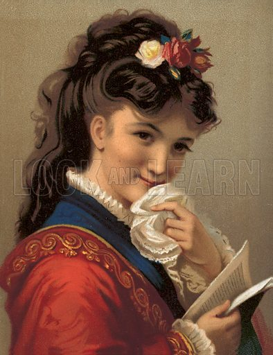 Girl laughing. Large chromolithograph of exceptional quality.