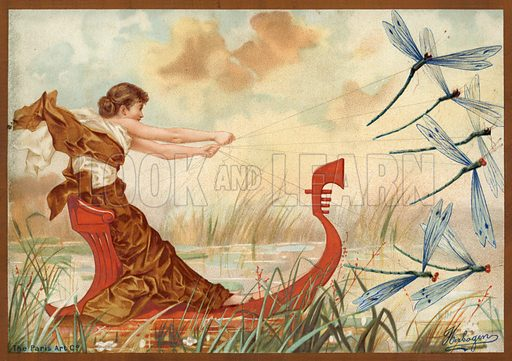 Girl and May flies,  picture, image, illustration