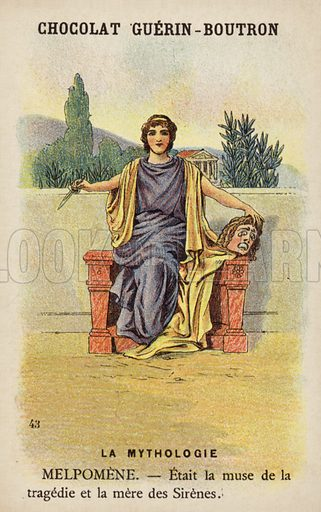 Melpomene.  French educational card, late 19th/early 20th century.