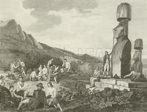 Inhabitants and monuments of Easter Island