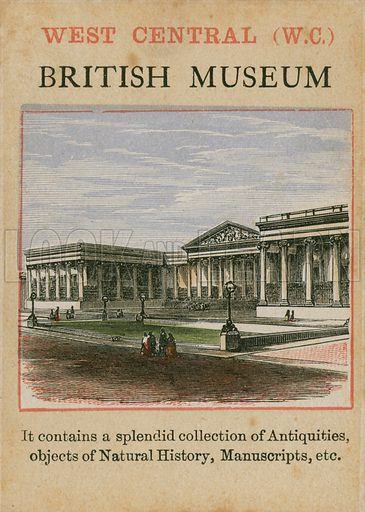 British Museum. Card forming part of children's card game about London.