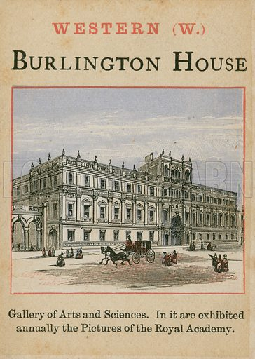 Burlington House. Card forming part of children's card game about London.