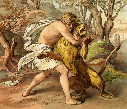Samson killing a young lion