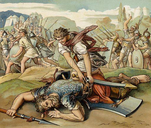 David and Goliath. Illustration for Old Testament Stories (SPCK, c 1890).