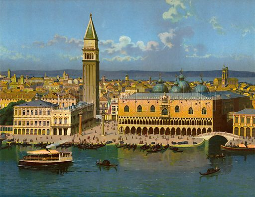 Venice.  Circa 1900.  Large chromolithograph of exceptional quality.