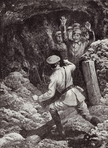 Lieutenant Denys Max Thomson Morland making prisoners of eighteen Germans in a mine at Givenchy, France, Battle of Festubert, May 1915. Illustration for Deeds That Thrill The Empire (Standard Art Book Co, c 1919).