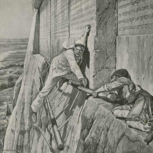 A narrow escape for Sir Henry Rawlinson at the Rock of Behistun, Iran. Illustration for The Picture Book (Educational Book Company, c 1920).