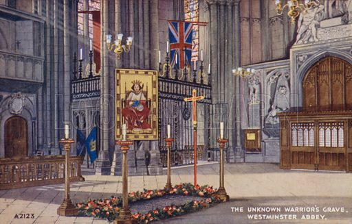 The Unknown Warrior's Grave, Westminster Abbey. Postcard, early 20th century.