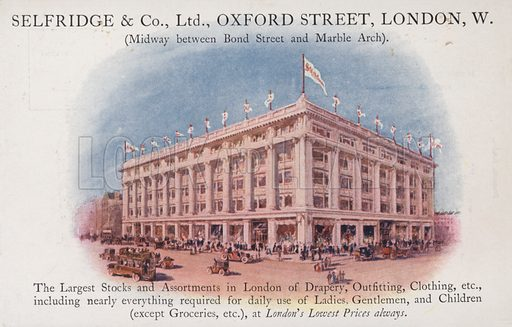 Selfridge and Company Limited, Oxford Street, London, West. Postcard, early 20th century.