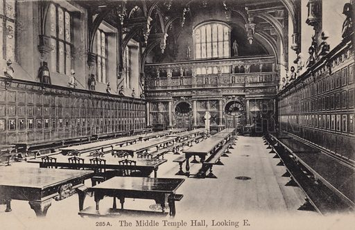 The Middle Temple Hall, Looking East. Postcard, early 20th century.