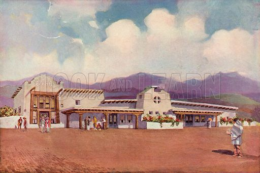 El Ortiz, Lamy, New Mexico. Illustration for The Great Southwest, Along The Santa Fe, a booklet published by Fred Harvey (6th edition, 1921).