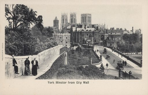 York Minster from City Wall. Postcard, early 20th century.