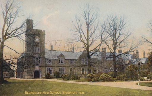 Blundells New School, Tiverton. Postcard, early 20th century.