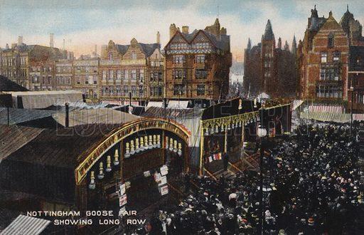 Nottingham Goose Fair, showing Long Row. Postcard, early 20th century.