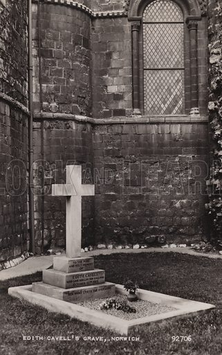 Edith Cavell's Grave, Norwich. Postcard, early 20th century.