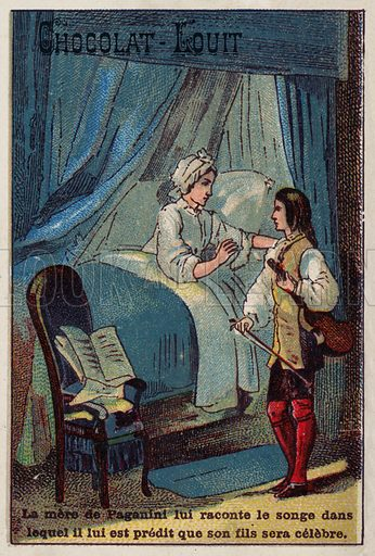 Paganini's mother recounting her dream in which it was predicted that he would become famous. French educational card, late 19th/early 20th century.