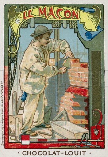 The bricklayer. French educational card, late 19th/early 20th century.