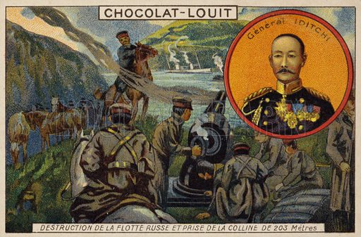 General Ijichi, and the destruction of the Russian fleet and the capture of 203 Metre Hill, Siege of Port Arthur, Russo-Japanese War, 1904. French educational card, early 20th century.