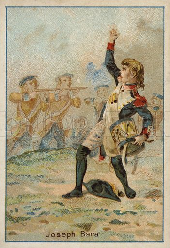 Joseph Bara (1779-1793), French Revolutionary boy soldier killed during the Vendee Revolt. French educational card, late 19th/early 20th century.